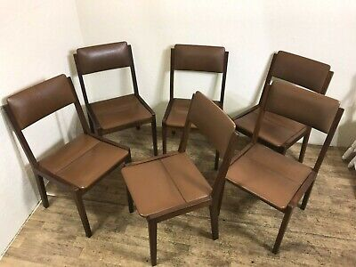 6x solid teak danish mid century dining chairs with rexine covered seats retro