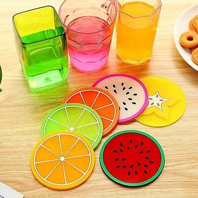 Good 6 PCS Lovely Round Colorful Silicone Coasters Cup Placemat Fruit Mats LCX