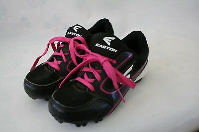 Easton Size 4 Children Black White Pink Lace-Up Cleats Girls Shoes