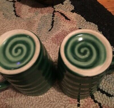 Pair Arts and Crafts Pottery Coffee Mugs Green Swirl Old RARE FABULOUS BEAUTY