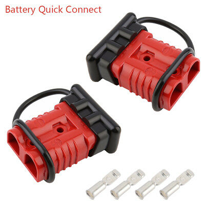 50a battery quick disconnect wire harness plug winch trailer connector red  new