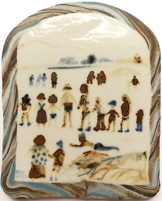 Fred Yates (1922-2008) Original Hand Painted Stoneware Plaque Figures On A Beach