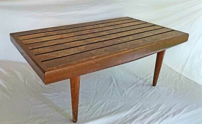 Slat Top Table Bench Modern Mid Century Original Vintage  Coffee Tapered Leg 31""