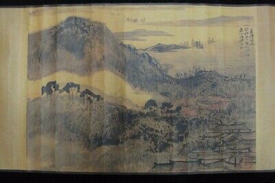 """Rare Long Old Chinese Scroll Hand Painting Landscape """"TangYun"""" Marks"""