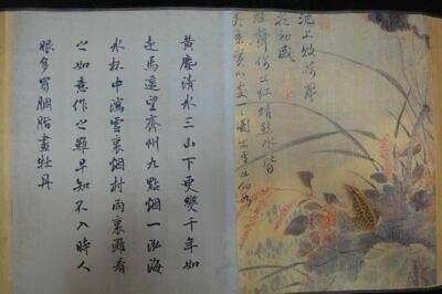"Very Long Old Chinese Scroll Hand Painting Flowers Calligraphy ""WangWu"" Marks"