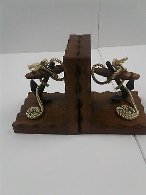 Vintage Nautical Iron Anchor And Rope Wooden Bookends
