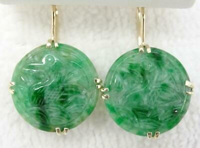 Antique 14K Chinese Carved Jade Birds French Wire Drop Earrings