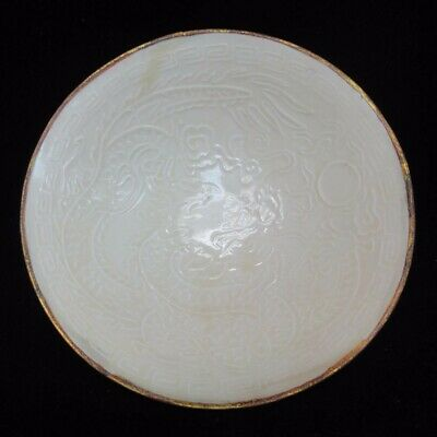 Very Rare Old Chinese White Glaze Hand Carving Dragon Porcelain Tea Bowl