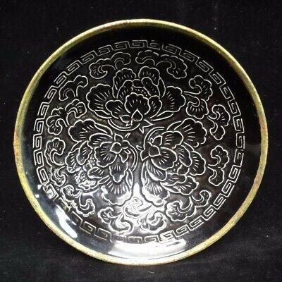 Very Rare Old Chinese Black Glaze Hand Carving Flowers Porcelain Tea Bowl