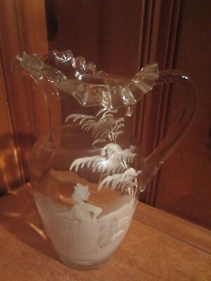 Antique Vintage Fenton Mary Gregory Painted Lady Glass Pitcher Hand Blown Ruffle
