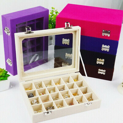 Velvet Glass Ring Earring Jewelry Display Organizer Box Tray Holder Storage Case