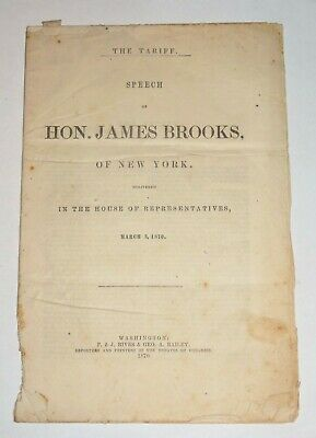 The Tariff Speech Hon. James Brooks NY House Representative March 1870 As Is