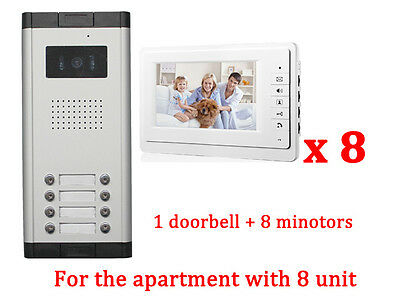 Apartment 8 Unit Intercom Entry System Wired Video Door Phone Audio Visual