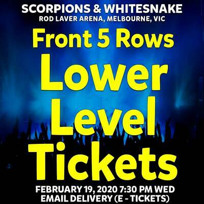 Scorpions & Whitesnake | Melbourne | Lower Level Tickets | Wed 19 Feb 2020 7Pm