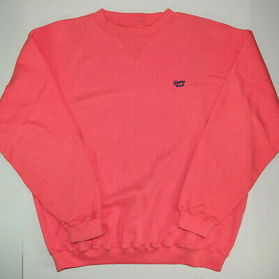 c9f9457d7 vtg GUESS USA Spell Out Crewneck Sweatshirt Lg 80s Miami Vice Pastel Coral
