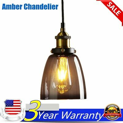 Vintage Industrial Amber Glass Pendant Light Ceiling Lamp Shade Fixture Home USA
