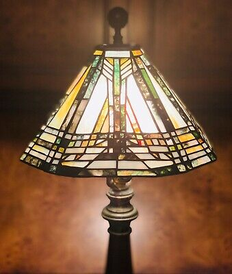 Arts & Crafts Mission Style Multi-Color Stained Glass Style Lamp Shade