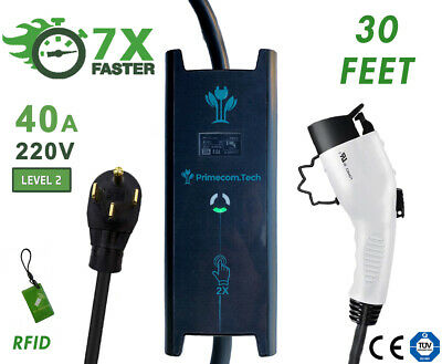 32AMP & 40AMP Level 2 (EV) Electric Vehicle Charger 220V 30, 40, 50 Feet 14-50P