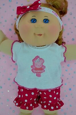 """Play n Wear Doll Clothes To Fit 14"""" Cabbage Patch POLKA DOT PANTS~TOP~HEADBAND"""