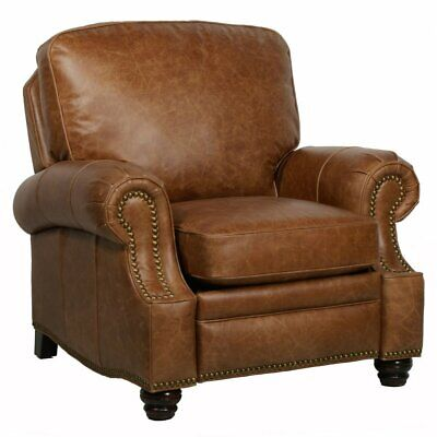 Barcalounger Longhorn II Leather Recliner with Nailheads, Brown, Standard