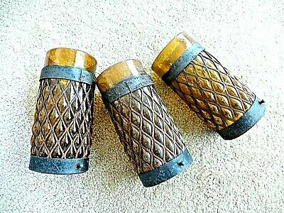 Vintage AMBER BUBBLE GLASS LIGHT SHADES Iron Cages Salvage lighting fixtures