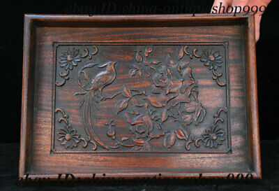 "16"" Old Chinese Huanghuali Wood Flower Bird Tray Salver Saucer Pallet Tea-Things"