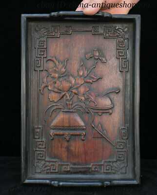 "13"" Old Chinese Huanghuali Wood Flower Vase Tray Salver Saucer Pallet Tea-Things"