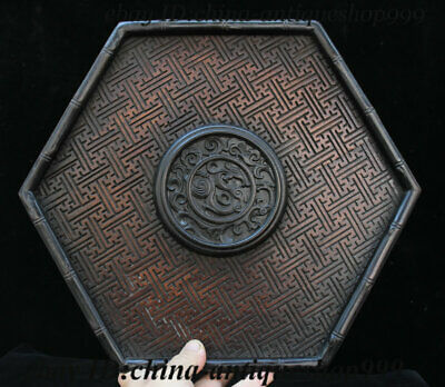 """13"""" Old China Huanghuali Wood Dragon Beast Tray Salver Saucer Pallet Tea-Things"""