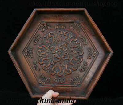 """14"""" Old China Huanghuali Wood 6 Horn Flower Tray Salver Saucer Pallet Tea-Things"""