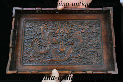 """13"""" Old China Huanghuali Wood Dragon Loong Tray Salver Saucer Pallet Tea-Things"""