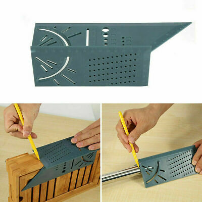 3D Mitre 90 Degree Angle Square Ruler Measuring Woodworking Tool with Gauge US