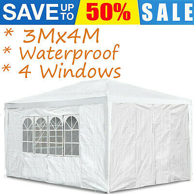 Waterproof Gazebo 3x4M Gazebos Party Tent Patio With 4 Sides Windows Outdoor