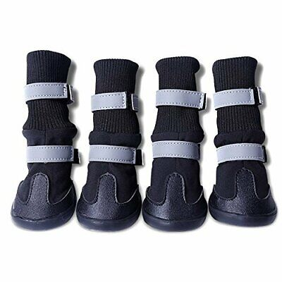 4X Waterproof Dog Boots Feet Cover Paw Protectors Shoes Reflective at Night (L)