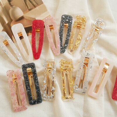 Hair Clips Rectangle Hairpins Barrettes Girl  Acrylic Waterdrop Hair Accessories