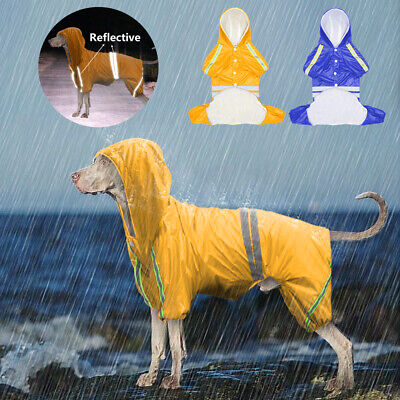 Waterproof Dog Rain Coat Reflective Jacket Hoodie Vest Rainwear Clothes M - 4XL