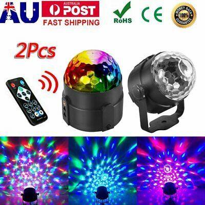 2Pcs LED RGB Stage Effect Light Disco Party DJ Lamp Laser Crystal Magic Ball AU