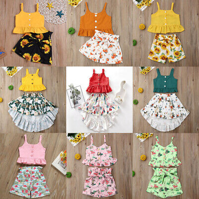 Toddler Kids Baby Girl Summer Clothes Tops+Shorts Dress 2PCS Outfits Set Sunsuit