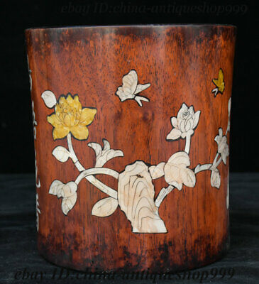 "6"" China Huanghuali Wood Inlay Shell Flower Ancient Works Brush Pot Pencil Vase"
