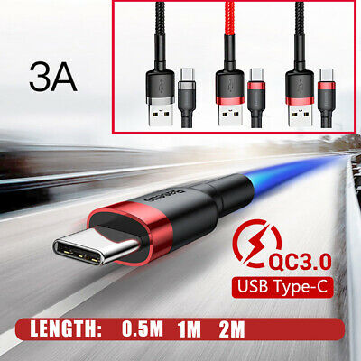 BASEUS 0.5 1M 2M USB TYPE-C QC3.0 3A Fast Charge Charging Data Sync Cable Cord
