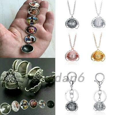 Expanding Photo Locket Necklace Keychain  Ball Angel Wing Pendant Memorial Gifts