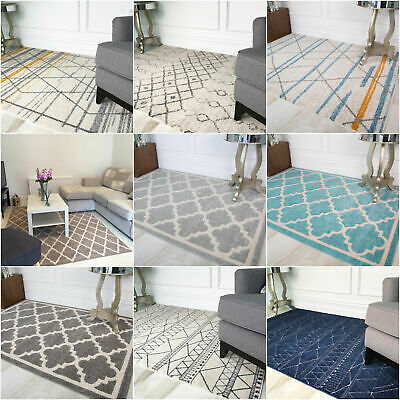 Moroccan Trellis Living Room Rugs Affordable Budget Cheap Non Shed Area Rugs UK
