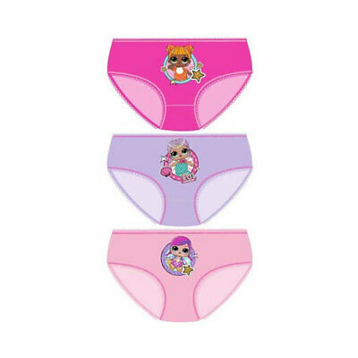 Girls LOL Knickers Underwear Set of 3 Official Merchndise 4-10yrs