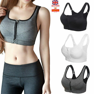 Womens Ladies Sports Bra High Impact Front Zip Push Up Wireless Padded Vest New