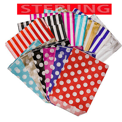 CANDY PAPER BAG STRIPED POLKA Wedding Cake Gift Shop Sweet Flavour 5x7 7x9 10x14