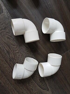 WHITE 40mm 43mm Solvent Weld Glue Waste Pipe Elbow Knuckle Bend 90°