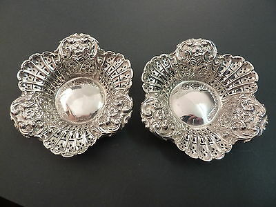 Good Pair Of Ornate Embossed & Pierced Bonbon Or Pin Dishes