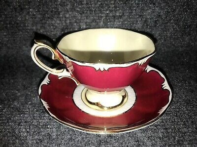 Royal Albert Crown China Teacup & Saucer Solid Red W/ Gold Boarder Yellow Center
