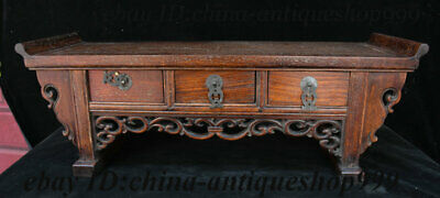 "22"" Antique Exquisite Chinese Huanghuali Wood Carving Drawer Locker Table Statue"