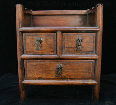 "14"" Old Chinese Huanghuali Wood Drawer Locker Cabinet Storage Jewelry Box Statue"