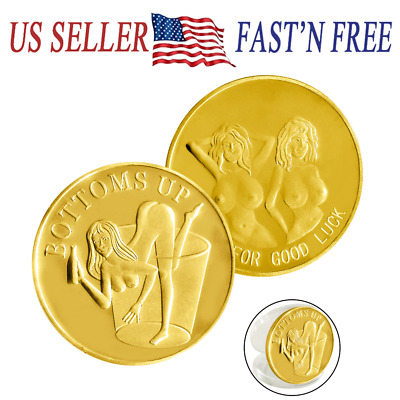 Good Luck BOTTOMS UP Gold Challenge Token Coin US SELLER FAST SHIPPING